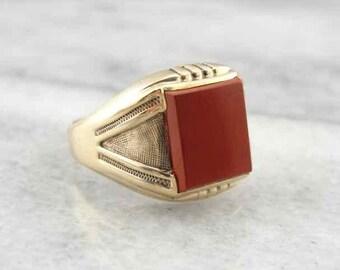 Men's Red Jasper And Vintage Gold Ring 4EH58C-D
