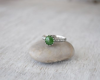 Chrome Diopside Ring - Sterling Silver Band - Handcrafted Artisan - Green Gemstone Ring