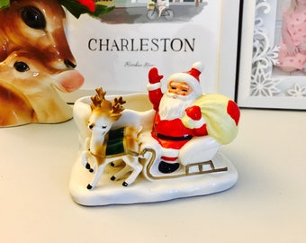Vintage Lefton Christmas Planter Santa Reindeer Figurine Japan 1950's