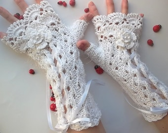 Crocheted Cotton Gloves XL Ready To Ship Victorian Fingerless Summer Women Wedding Lace Evening Knitted Bridal Party White Corset Opera B52