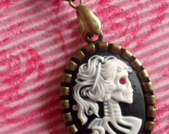 Dia de los Muertos skull girl black and white cameo chain necklace