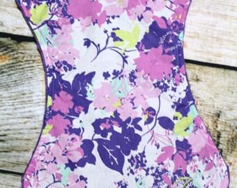 Flowered Burp Cloth,Flowered Burp Rag, Purple Burp Cloth , Purple Burp Rag, Purple Flowered Burp/=Cloth/Rag