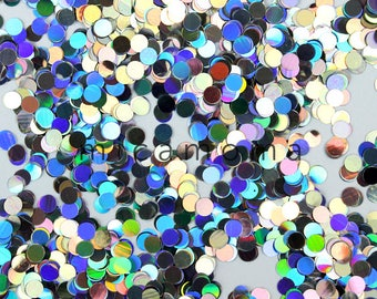 Silver Holographic Glitter Dots  - cosmetic grade glitter for nail art and indie polish and crafts