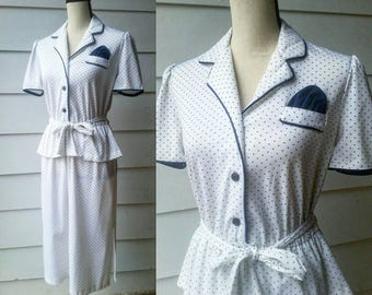 1950s Polka Dot Day Dress // Small // Semi Sheer