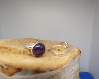 ring adjustable 12 mm Amethyst stone cabochon