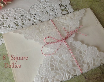 "White Paper Doilies. Wedding Favors. Wedding Invitations, Scrapbooking, Party Decor  doilies. Bridal shower. Party favors.  8 "" square"