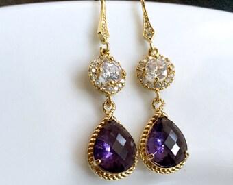 Amethyst purple earrings,purple crystal earrings,bridesmaid gift,gold purple earrings,wedding gift, bridesmaid earrings,topaz earrings
