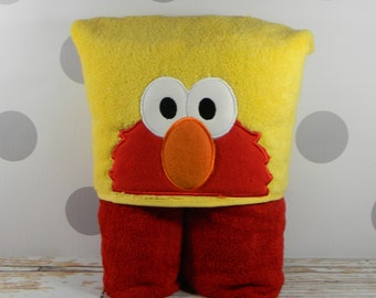 Toddler Hooded Towel with Elmo - character inspired Toddler Elmo Towel for Bath, Beach, or Swimming Pool