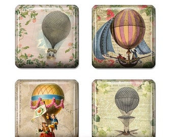 80% Off Spring Sale Vintage Hot Air Balloon Images Digital Collage 1 inch Square Scrabble Tile Images for Scrabble Tiles Resin Pendants Glas