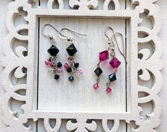 SALE - Sterling Silver Fuchsia Pink Black Jet Swarovski Crystal Drop Dangle Earrings (purchase sepaarately or as set of two)