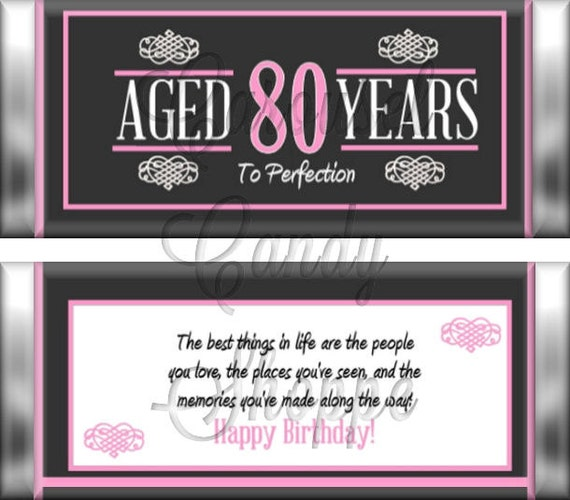 80th birthday party favors hershey u0026 39 s candy bar wrappers