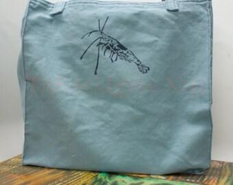 Light Blue Reusable Fabric Market Bag with Dwarf Shrimp Block Print 100% Cotton Canvas Duck Handmade Grocery Shopping Tote