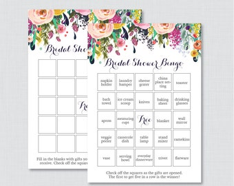 Floral Bridal Shower Bingo Printable - 60 Unique Pre-filled Bingo Cards AND Blank Cards - Flower Garden Bridal Bingo 0002-B