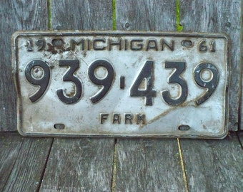 Michigan Farm License Plate 1961
