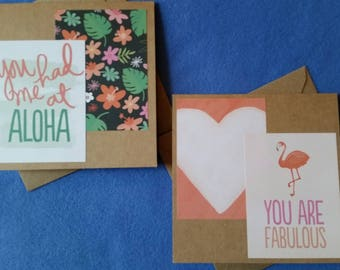 You Had Me at Aloha and You Are Fabulous Handmade Cards - Two Recycled Kraft Paper Square Greeting Cards, Blank Cards