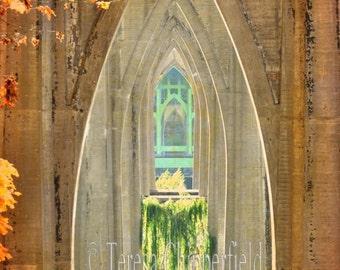 Portland Photography, Cathedral Arches Print, St. John's Bridge PDX Photo, Northwest Autumn Colours, Fall Photo, Portland Cathedral Park Art