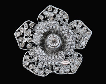 Rose - Rhinestone Brooch Pin Embellishment -Flatback Rhinestone Crystal Brooch - Wedding Rhinestone Brooch Jewelry Supply RD340