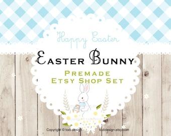 SALE Easter Bunny Premade EASTER Etsy banner set