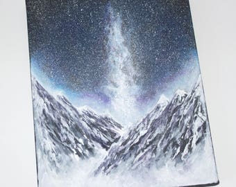 Original space acrylic painting, acrylic painting, cosmic art, space art, mountaing painting, 12x9