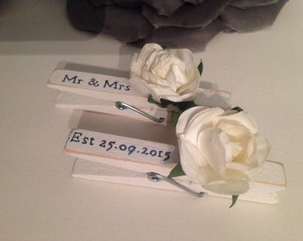 Sass & belle Personalised white wooden / ivory flowers wedding decorative pegs Gift