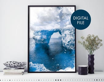 Azure Window, Gozo, Malta Watercolour Print Wall Art   Print At Home   Digital Download File