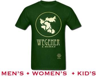 Pangea Science Tshirt for Geologist Alfred Wegener, Rock Star Scientist Geology Gift, Pangaea Map Illustration, Geek Tshirt for Teacher