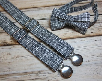 Bow Tie and Suspenders set Black and White Texture Crosshatch  ( Men, boys, baby, toddler, infant Suspender and Bowtie ) outfit