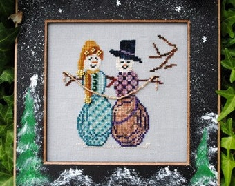 "Christmas Cross Stitch Instant Download Pattern ""Cool Friends"" Chart. Snowman Design. Whimsical Counted Embroidery. Beaded X Stitch."