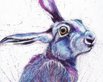 Purple Hare #2 by Ann Richmond - A Signed, Ltd. Ed. Giclee Print.