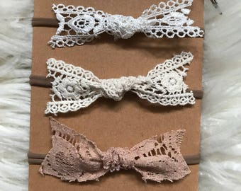 Lace knot bow headband or clips