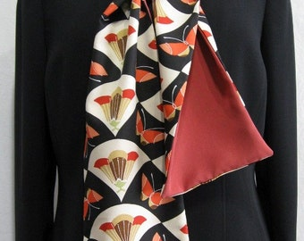 Butterflies - Scarf Made From Vintage Japanese Kimono Fabric
