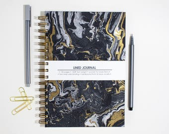Metallic Marble on Black Hard Cover Journal with Lined Pages – 6 x 9 inch Lined Journal with Pocket