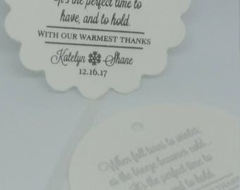 """PERSONALIZED Winter Snowflake Cold To Have & To Hold Favor Tags Silver Metallic Foil 2"""" Round or 2"""" Scalloped Round"""