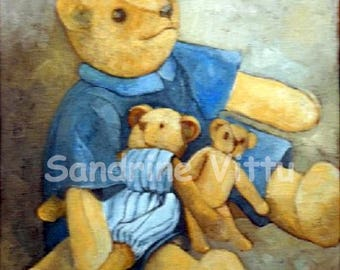 Teddy bear painting kids room painting knife
