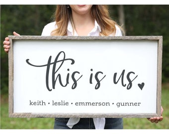 Fathers Day Gifts This is Us Farmhouse Sign Wedding Gift Adoption Gifts Personalized Family Gift for Adoption Day Anniversary Gift for Wife