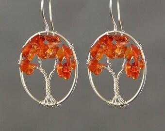 Cornaline en argent sterling boucles d'oreilles ovale arbre de vie de câblage cadeaux de demoiselle d'honneur nous livraison gratuite à la main Anni designs