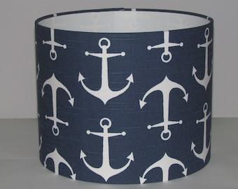 Handmade Drum Lampshade Navy Blue Nautical Anchor Seaside Boys Nursery 20cm 25cm 30cm Lightshade