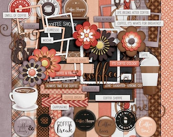 Coffee Shoppe- 14 Paper - 50+ Elements- Paper Size - 12 x 12 Inches