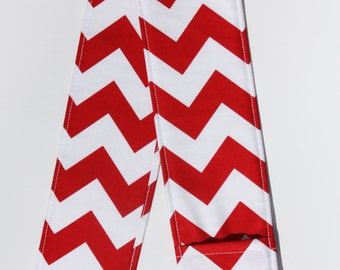 Camera Strap Cover- lens cap pocket and padding included- Red Chevron