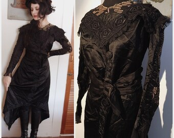 Stunning Edwardian Embroidered Silk Gown