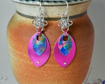 Hand painted scale drop earrings
