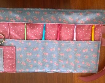 Crochet Hook Holder/Case/Organizer ~ Roses and Polka Dots ~ Medium