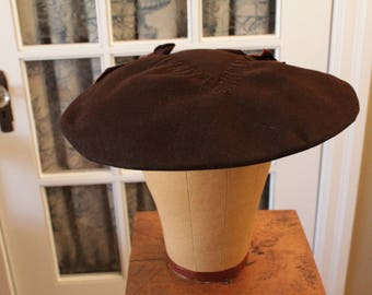 Vintage 1950's Brown Felt Platter Hat