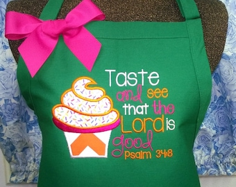 Apron Fabric Applique Cupcake with Bible Verse Monogrammed Gift