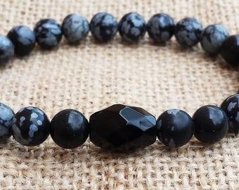 Obsidian Mens Bracelet Simple Black Bracelet Gifts For Him Husbands Gifts Boyfriends Fathers Gifts  Gemstones
