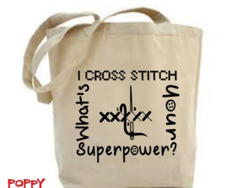Cross Stitch Bag, Craft Tote Bag, Cross Stitch Project Bag, Bag for Sewing, Gift for Sewer, Craft Bag, Tote Bag, Gift For Her,