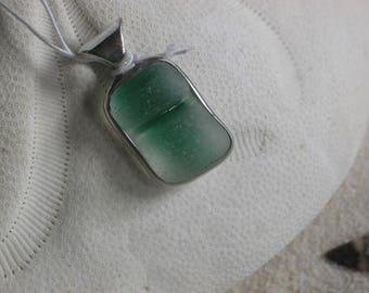Green and Clear Lake Erie Beach Glass Pendant