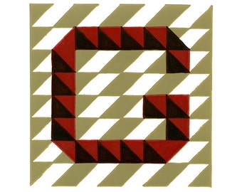 Letter G Linocut Hand Pulled Original Relief Print Edition of 5