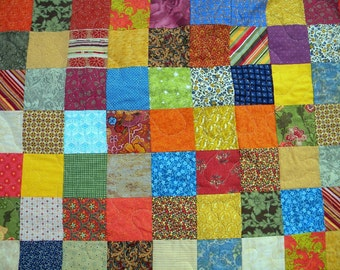 Patchwork quilt--lap size--Warm Earthtone --54 X 81, farmhouse quilt, scrappy, traditional, orange, red, green, vintage vibe