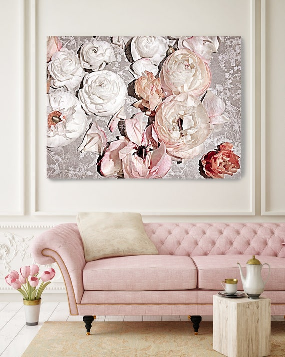 "Romantic Shabby Chic Flowers 6. Floral Painting, Pink Abstract Art, Large Abstract Contemporary Canvas Art Print up to 72"" by Irena Orlov"